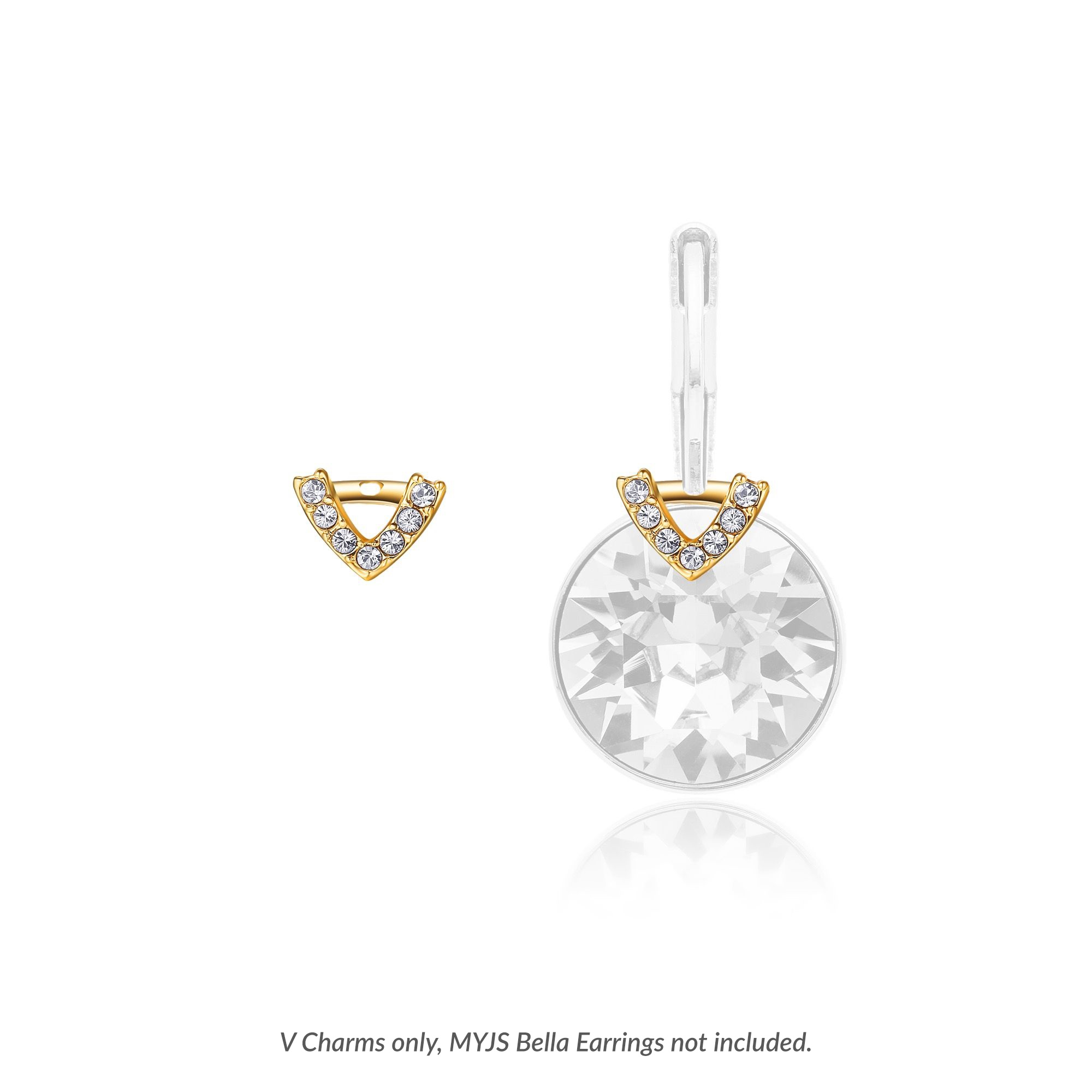 a6abf9e8c037 Bella 4 Carat Earrings V Charms with Swarovski Crystals Gold Plated ...