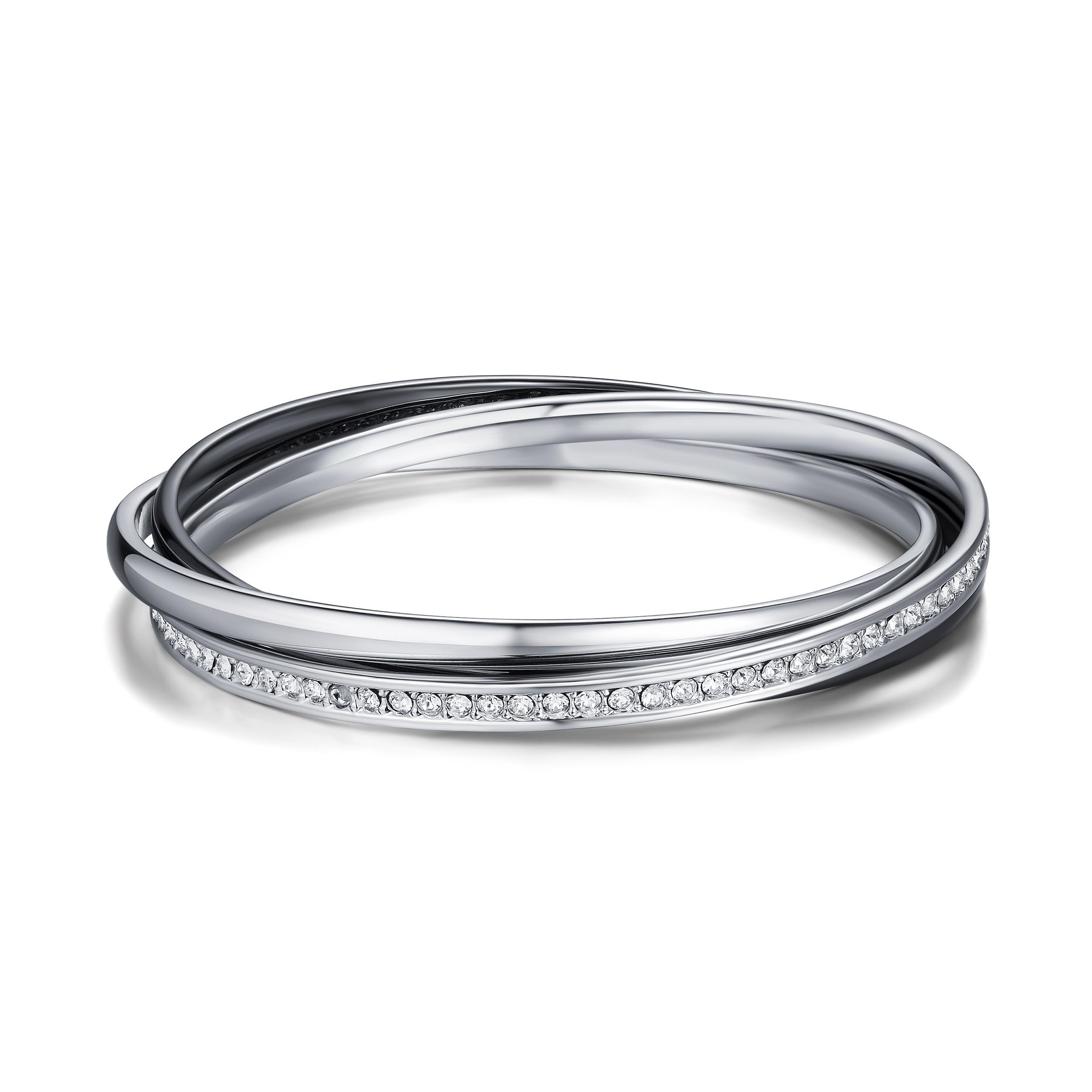 f954ff8c7d8f Details about MYJS Trinity Bracelet Bangle with Swarovski Crystals Rhodium  Gun Metal Pltd Gift