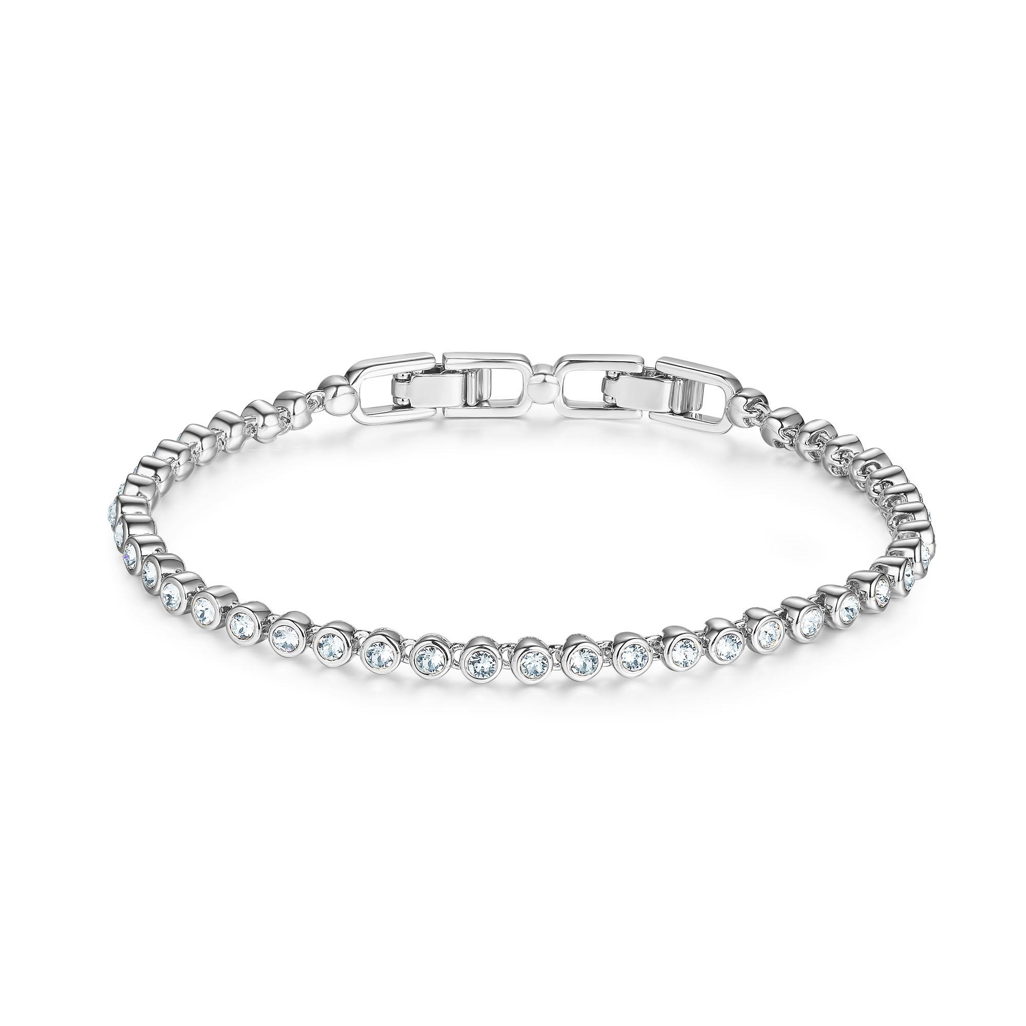 emily tennis bracelet with clear swarovski crystals bridal. Black Bedroom Furniture Sets. Home Design Ideas