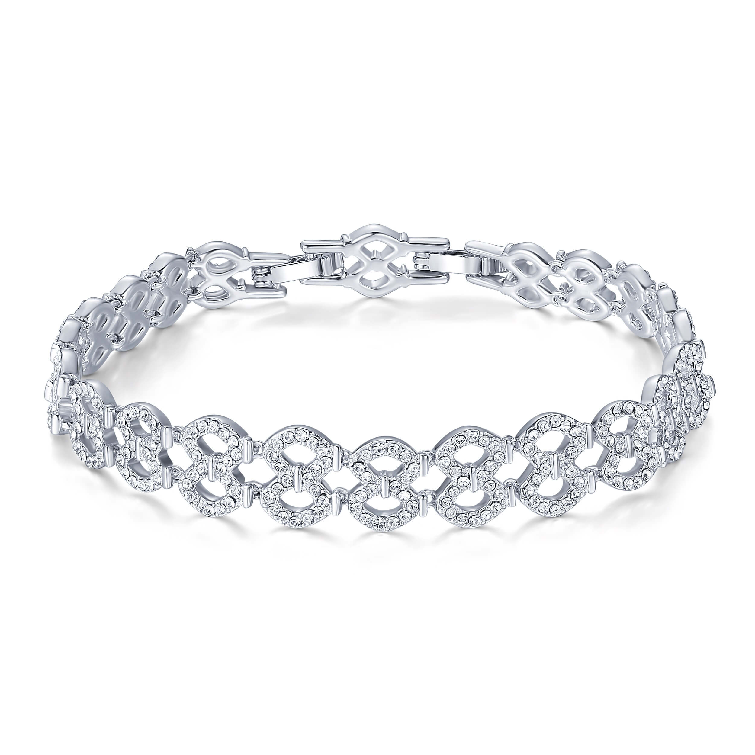 8578365ada0f2 Details about Lace Bracelet with Swarovski Crystals Rhodium Plated MYJS