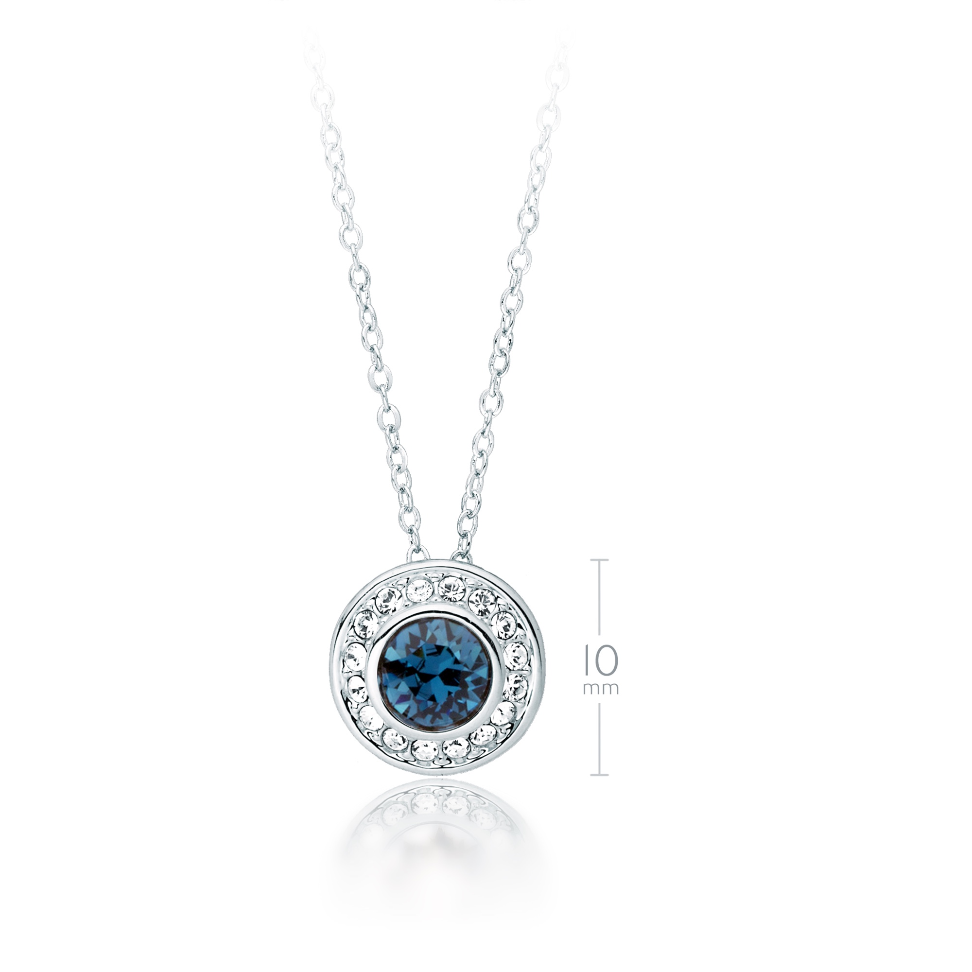 b291e0259 Details about MYJS Angelic Pendant Necklace with Montana Blue Swarovski  Crystals WGP Halo