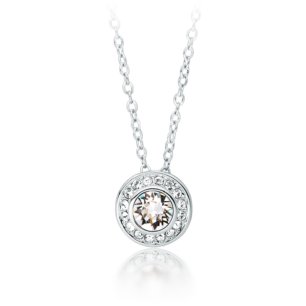09fa12577 Details about MYJS Angelic Pendant Necklace with Swarovski Crystals WGP  Solitaire Halo Bridal