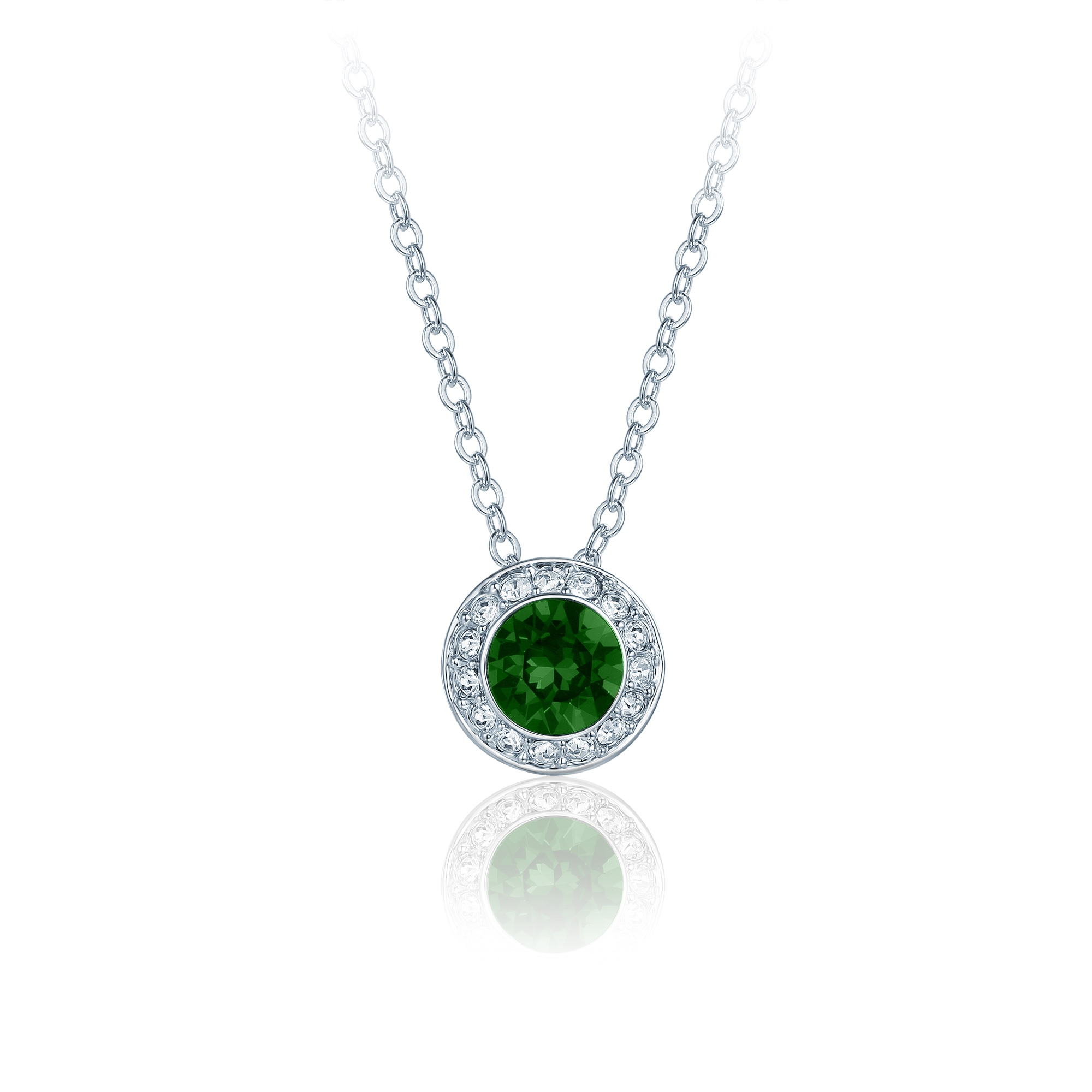 b88f2158e7443 Details about Angelic Pendant Necklace w Emerald Swarovski Crystals Bridal  Wedding MYJS WGP