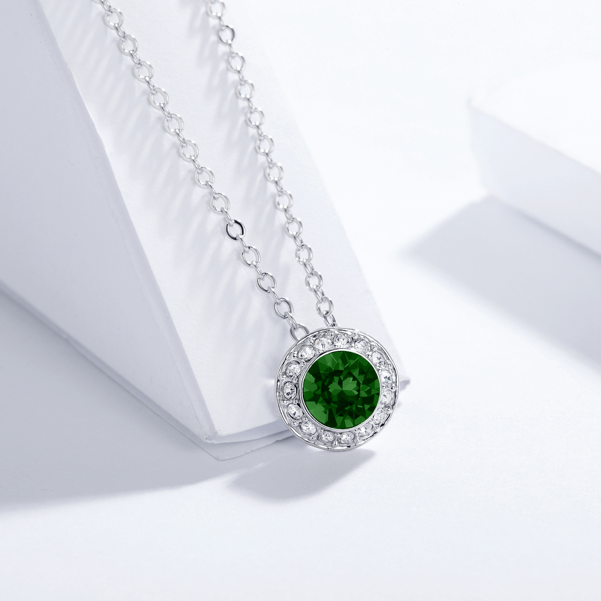 dca24507f Angelic Pendant Necklace with Emerald Swarovski Crystals Bridal Wedding  MYJS WGP