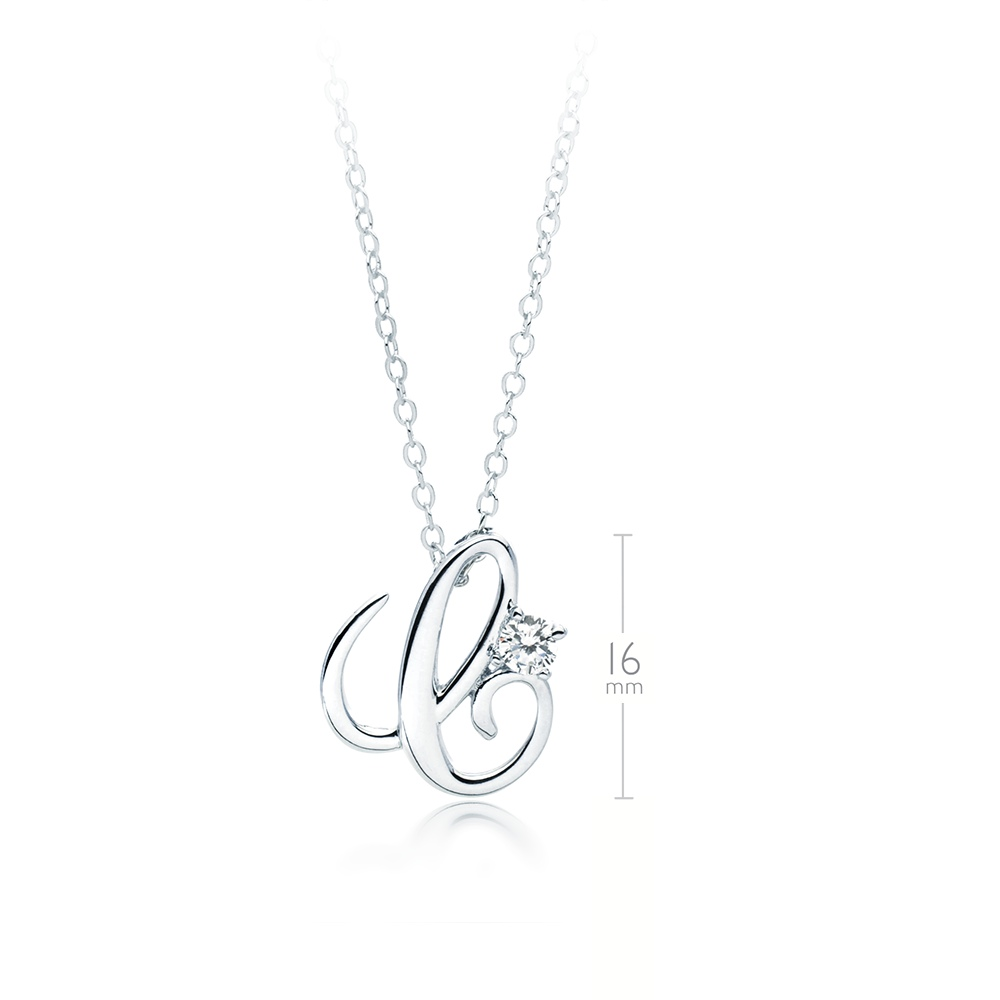 alphabet stones products r silver with the pendant of cz an link zirconia necklace cubic real letters ladies and sterling inch
