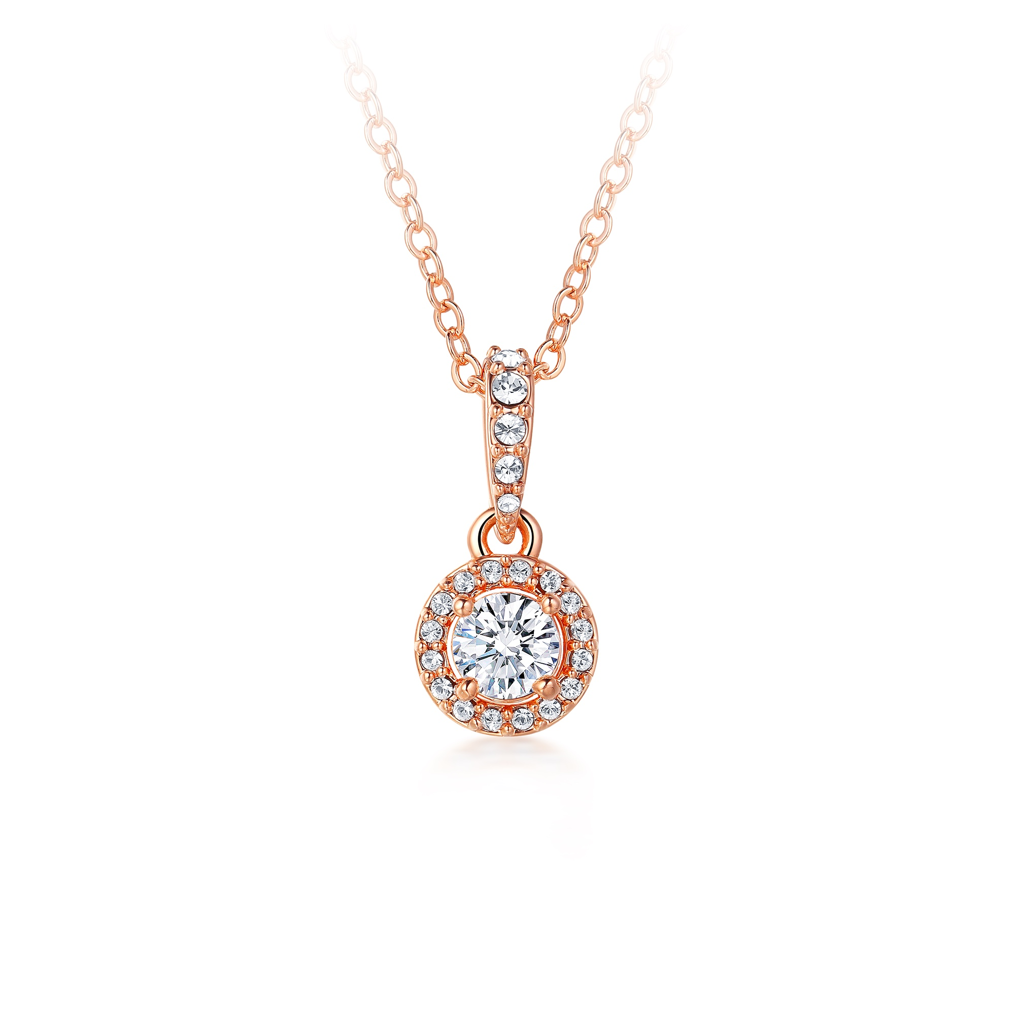 663b2d3d266a6 Details about Elegance Drop Necklace Round Cut CZ Swarovski Crystals Rose  Gold Pt Pendant