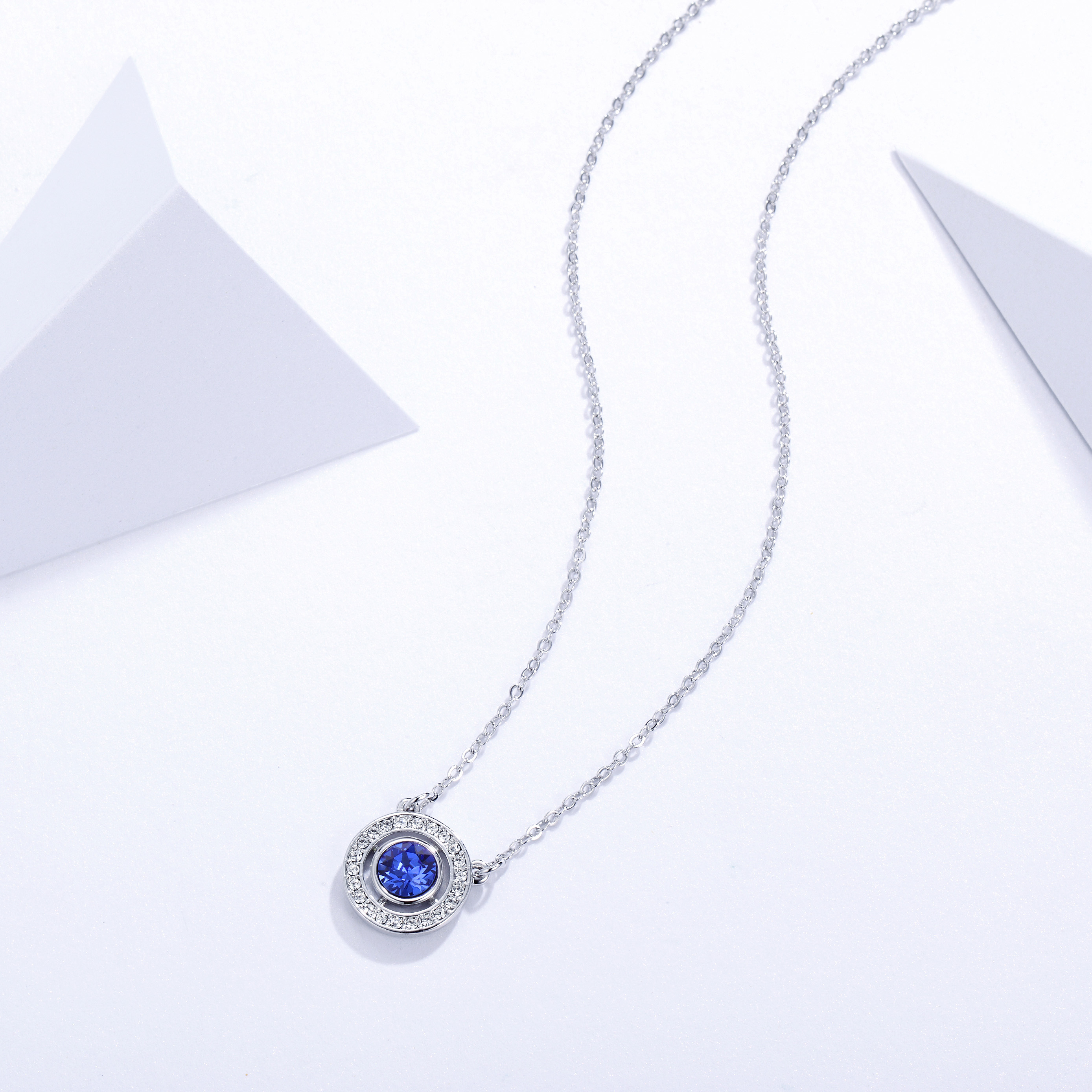 a7cc8e3514f1 Forever Birthstone Pendant Necklace with Sapphire Swarovski Crystal MYJS WGP