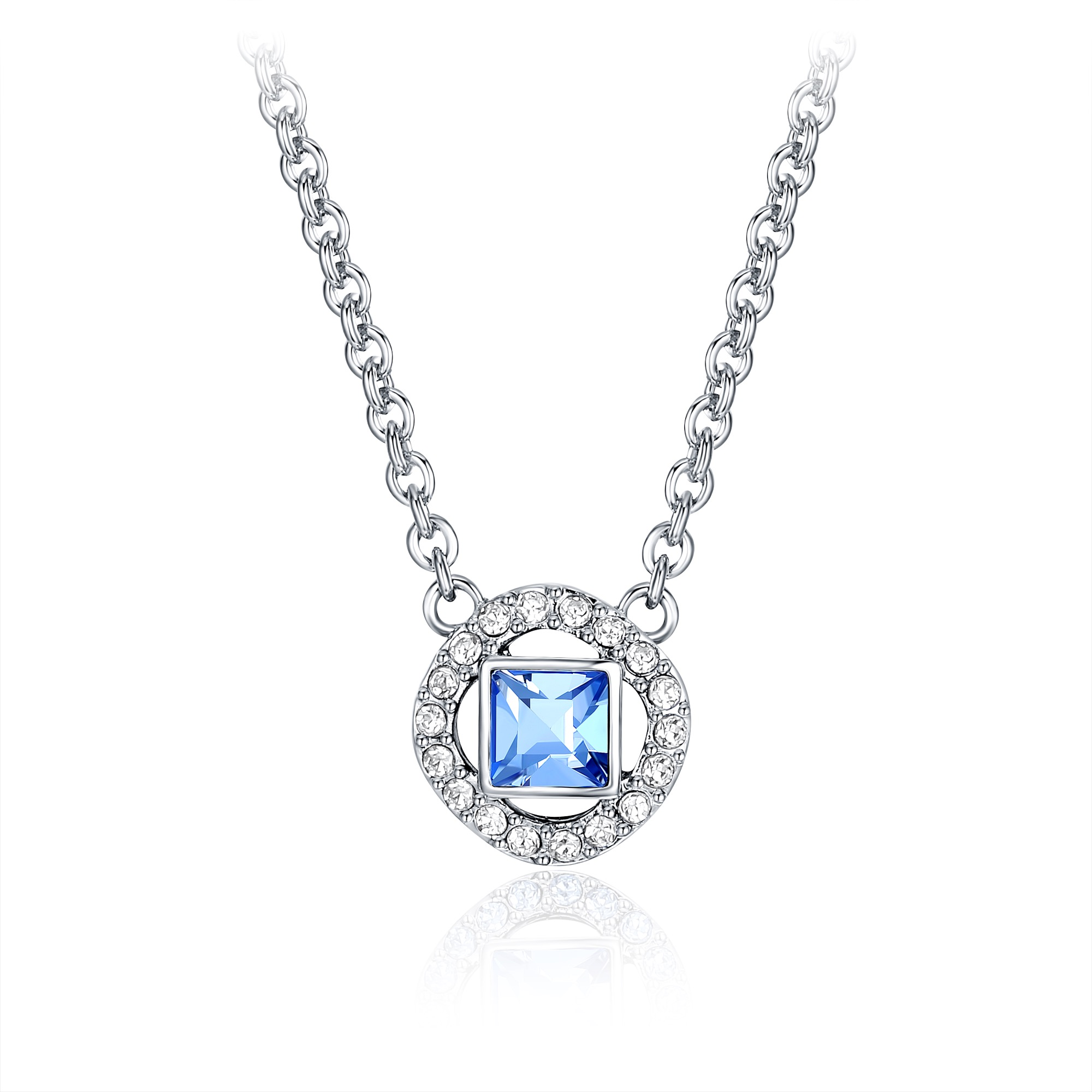 2229e7be7 Angelic Square Pendant with Swarovski Light Sapphire Crystals Rhodium Plated