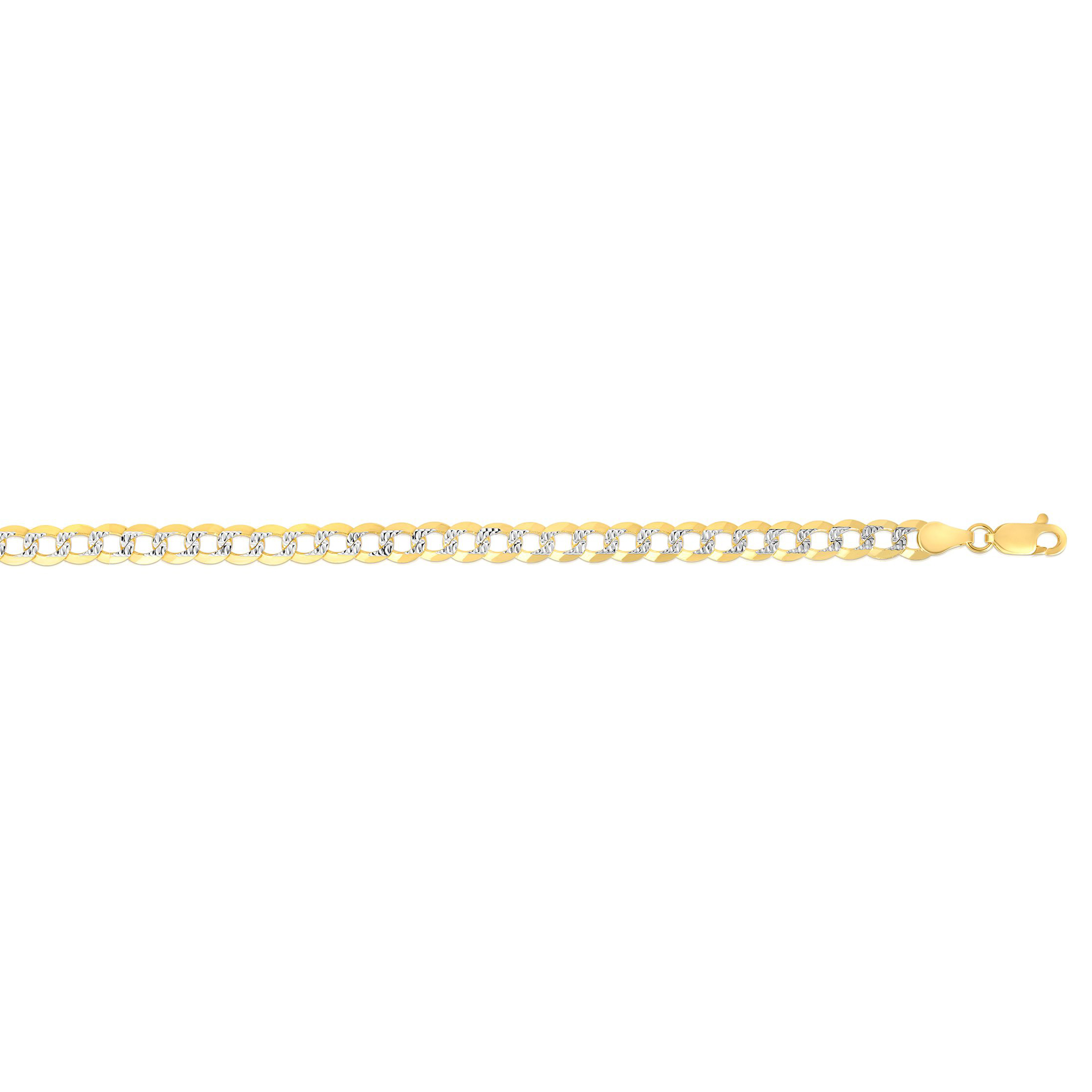 14k Yellow gold White Pave 4.6mm Diamond-Cut Comfort Curb Chain - 24