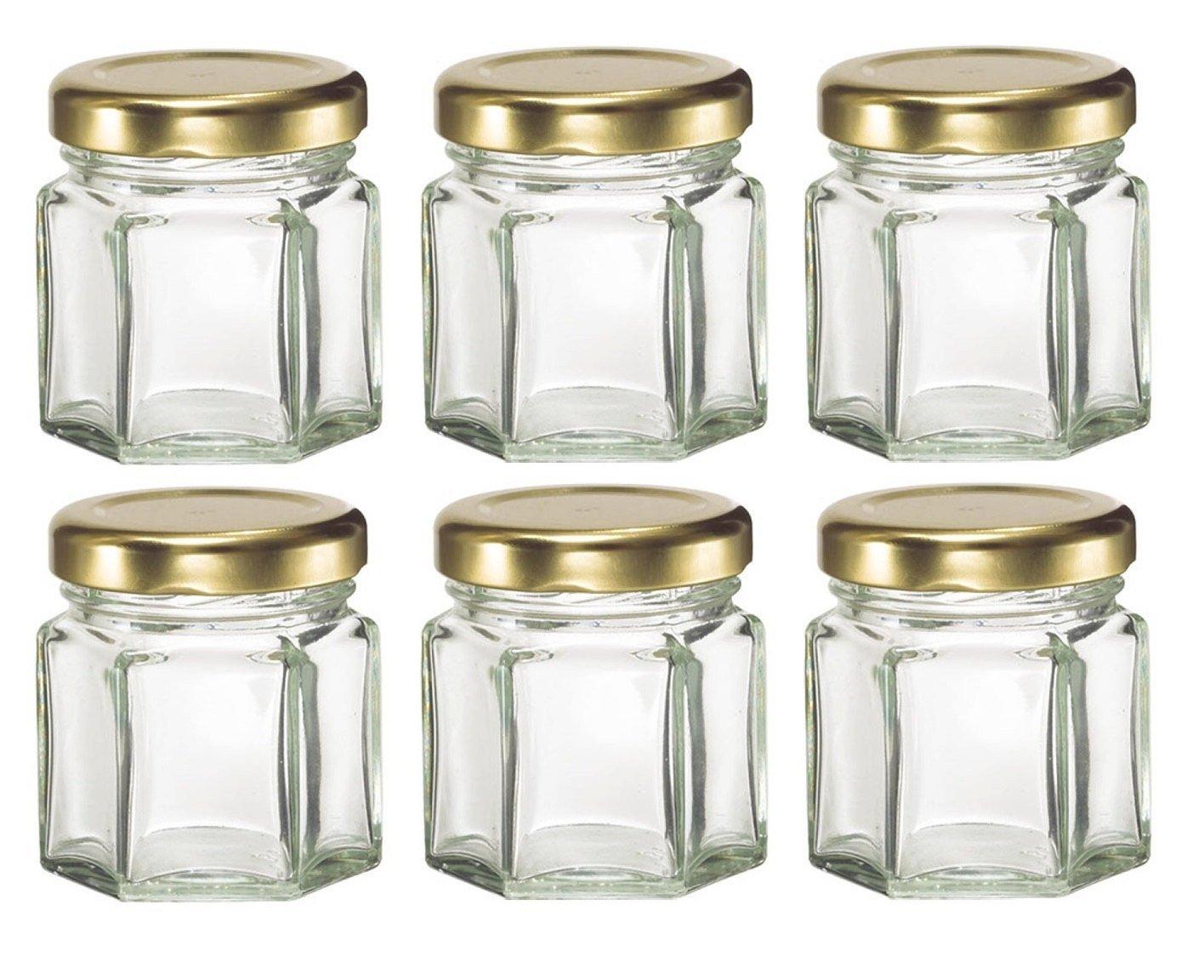 hexagon glass jars with lids for candles honey etc 1 1 2 oz 1 5 oz hex ebay. Black Bedroom Furniture Sets. Home Design Ideas