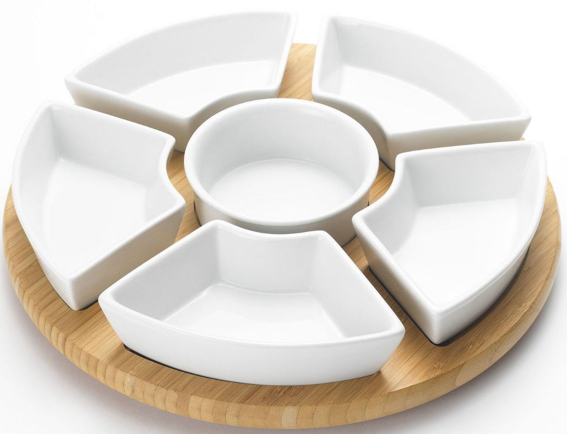 Lazy Susan Rotating Dip Set Serving Platter With Ceramic