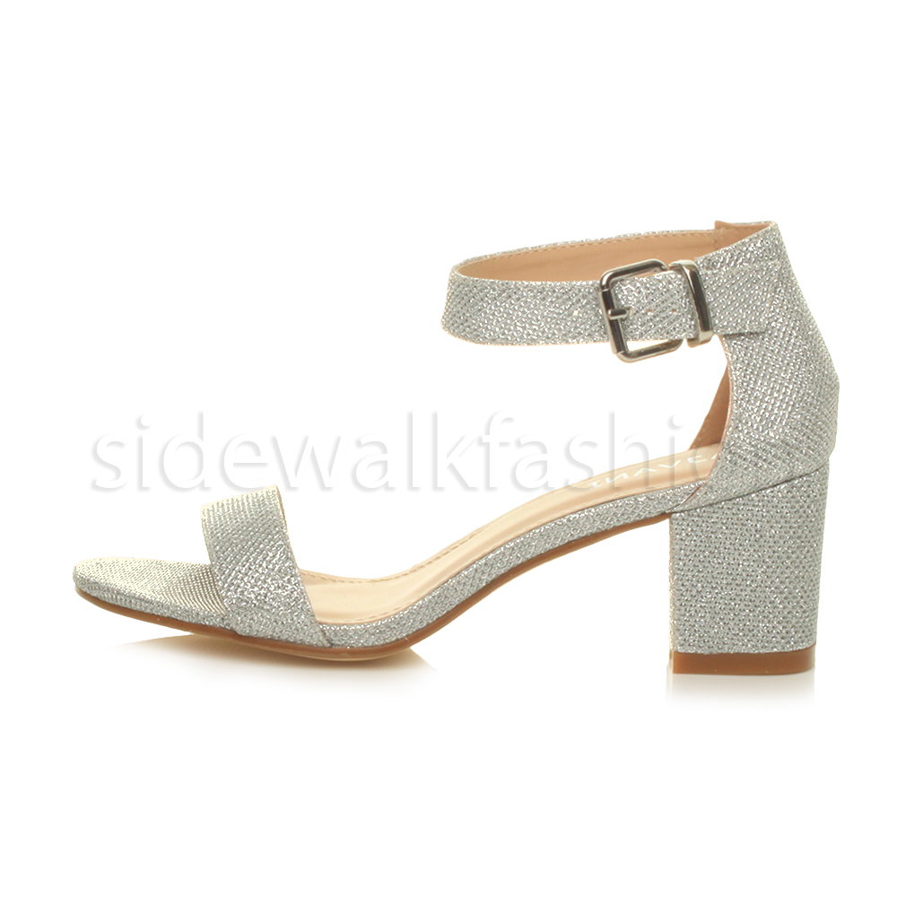 Womens Ladies Low Mid Heel Buckle Ankle Strap Peep Toe