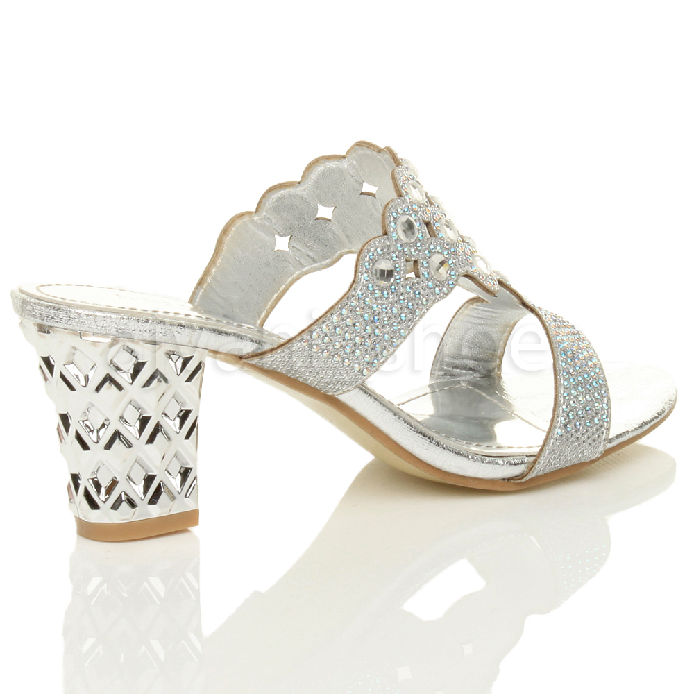 femmes talon moyen d couper strass soir e mules chaussons sandales pointure ebay. Black Bedroom Furniture Sets. Home Design Ideas