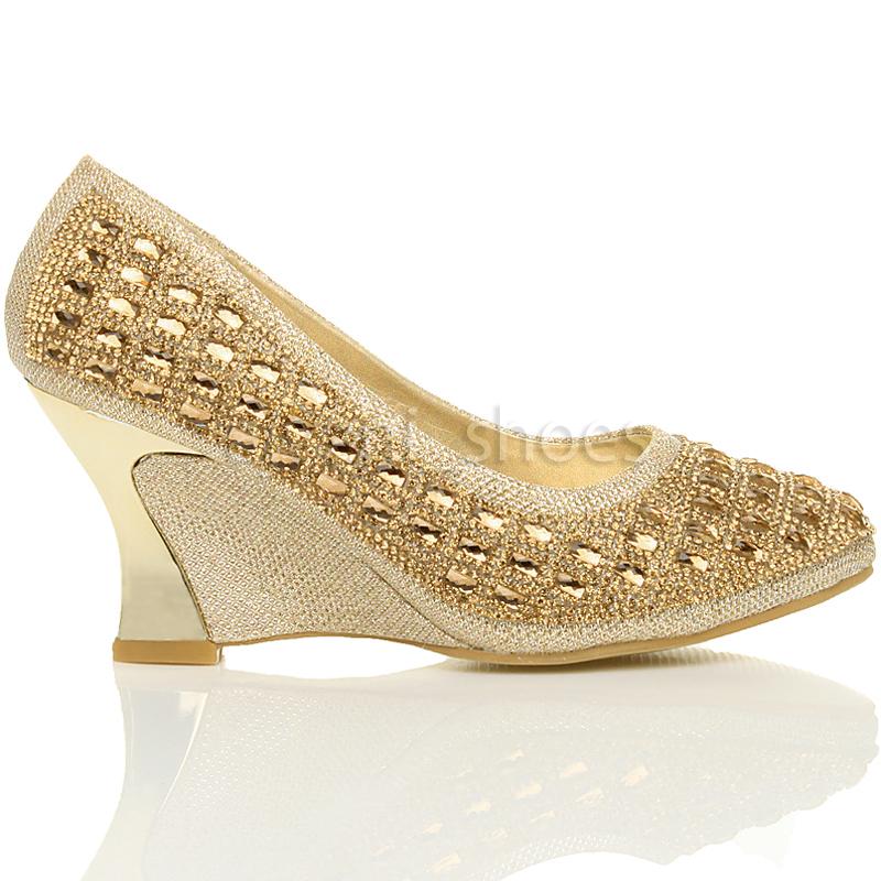 Mujeres-alto-medio-tacon-de-cuna-strass-noche-escarpins-zapatos-de-salon-talla