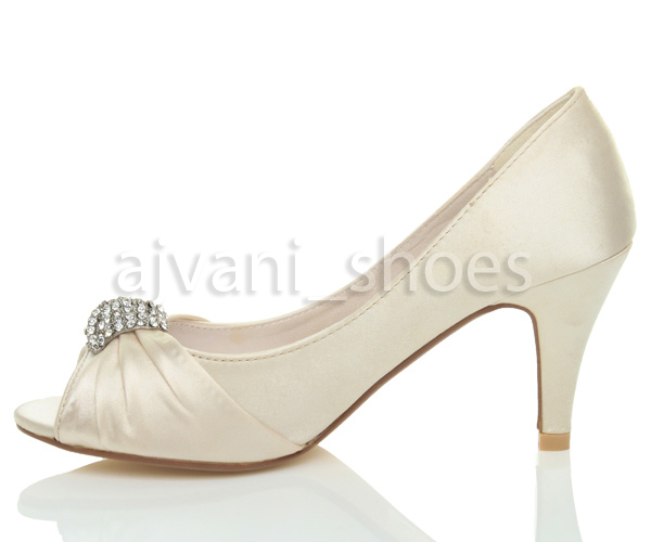 e0c6d96e Mujeres boda noche tacón medio alto peep toe prendedor sandalias ...