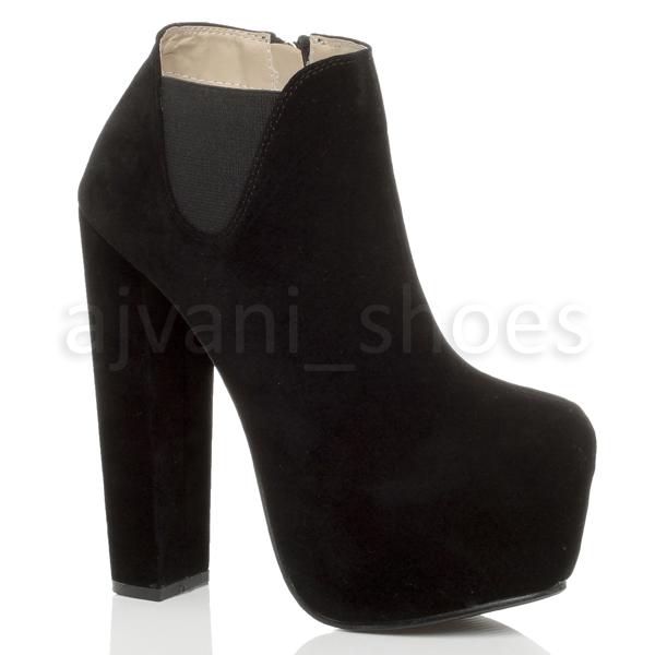 Damen Plateau Sehr Hohe Blockabsatz Zwickel Stiefeletten Schuhstiefel Größe 7 40 qRs05XxPL