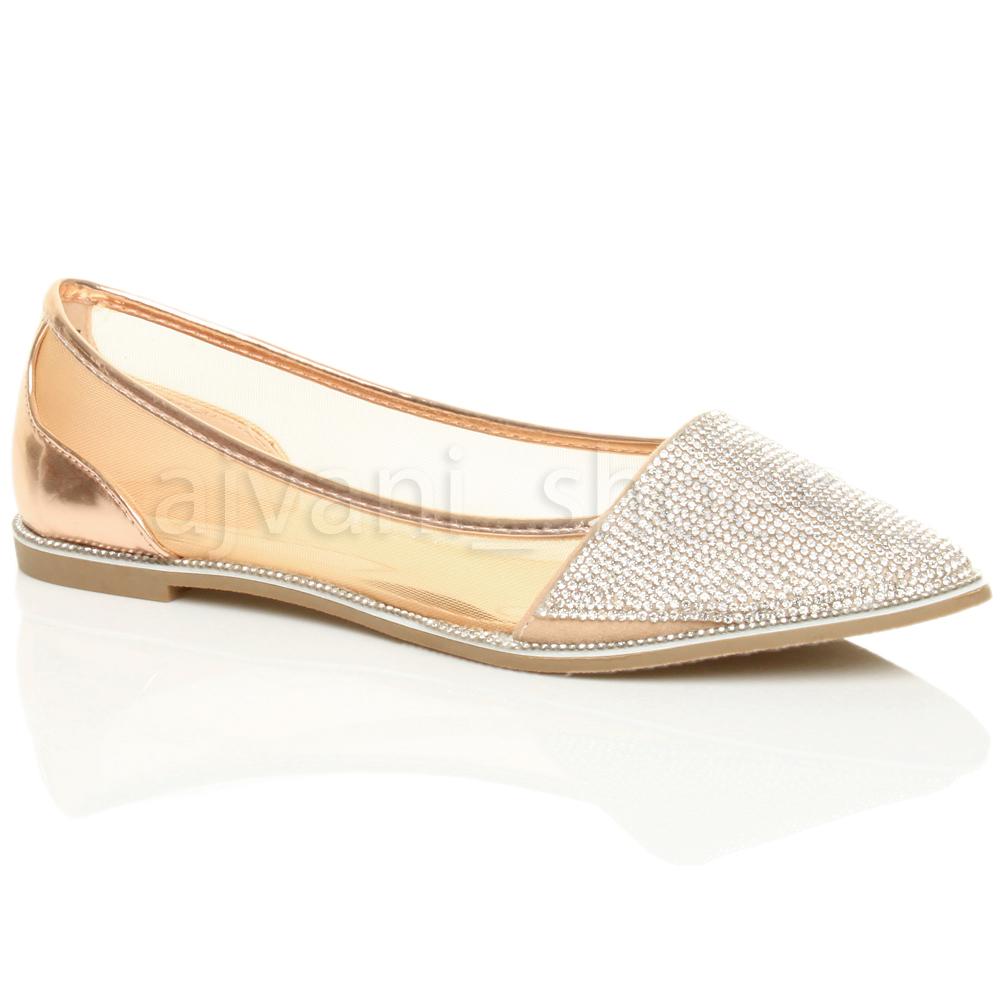 Damen Flach Spitz Strass Rand Gittergewebe Ballerina Schuhe Pumps Größe 37 4 pcwAoc