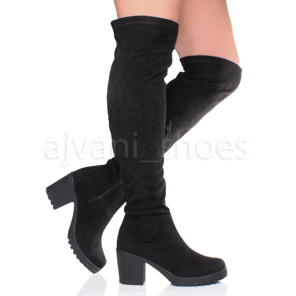 Mujer tacón medio bloque elástico plataforma botas por encima de rodilla talla