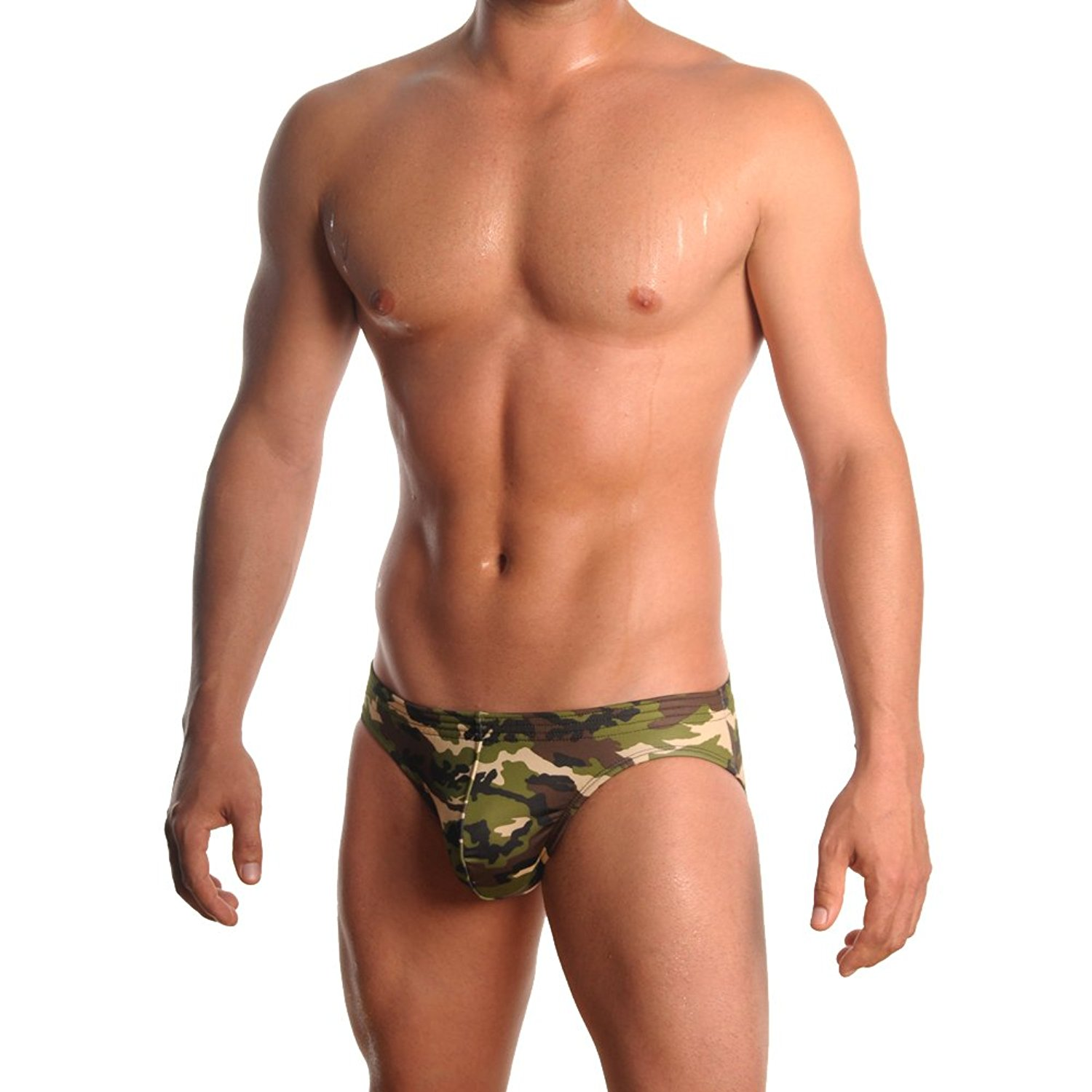 Medium image of mens print contour pouch bikini swimsuit by gary