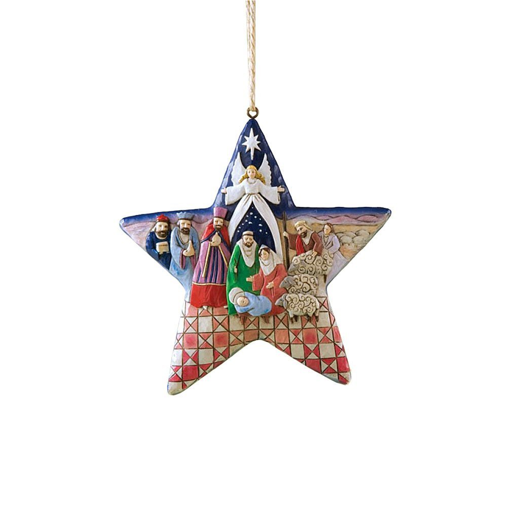 Christmas Religious Nativity Stars Ornament: Jim Shore Heartwood Creek Nativity Star Hanging Ornament