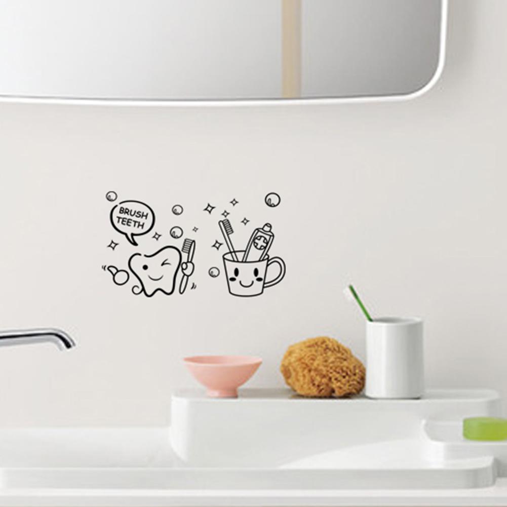 new toothbrush bathroom toilet waterproof removable vinyl decal wall sticker diy ebay. Black Bedroom Furniture Sets. Home Design Ideas