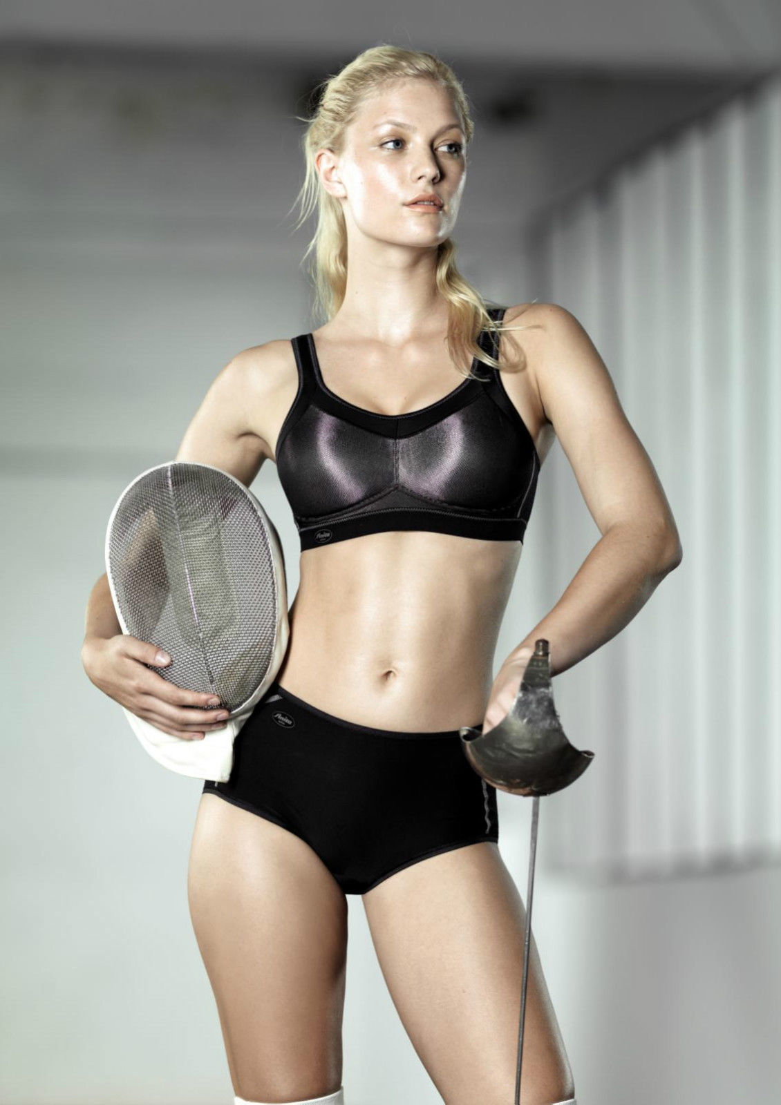 dbb92749f866a Anita Momentum 5529 Metallic Black Maximum Support Sports Bra NWT Large  Sizes