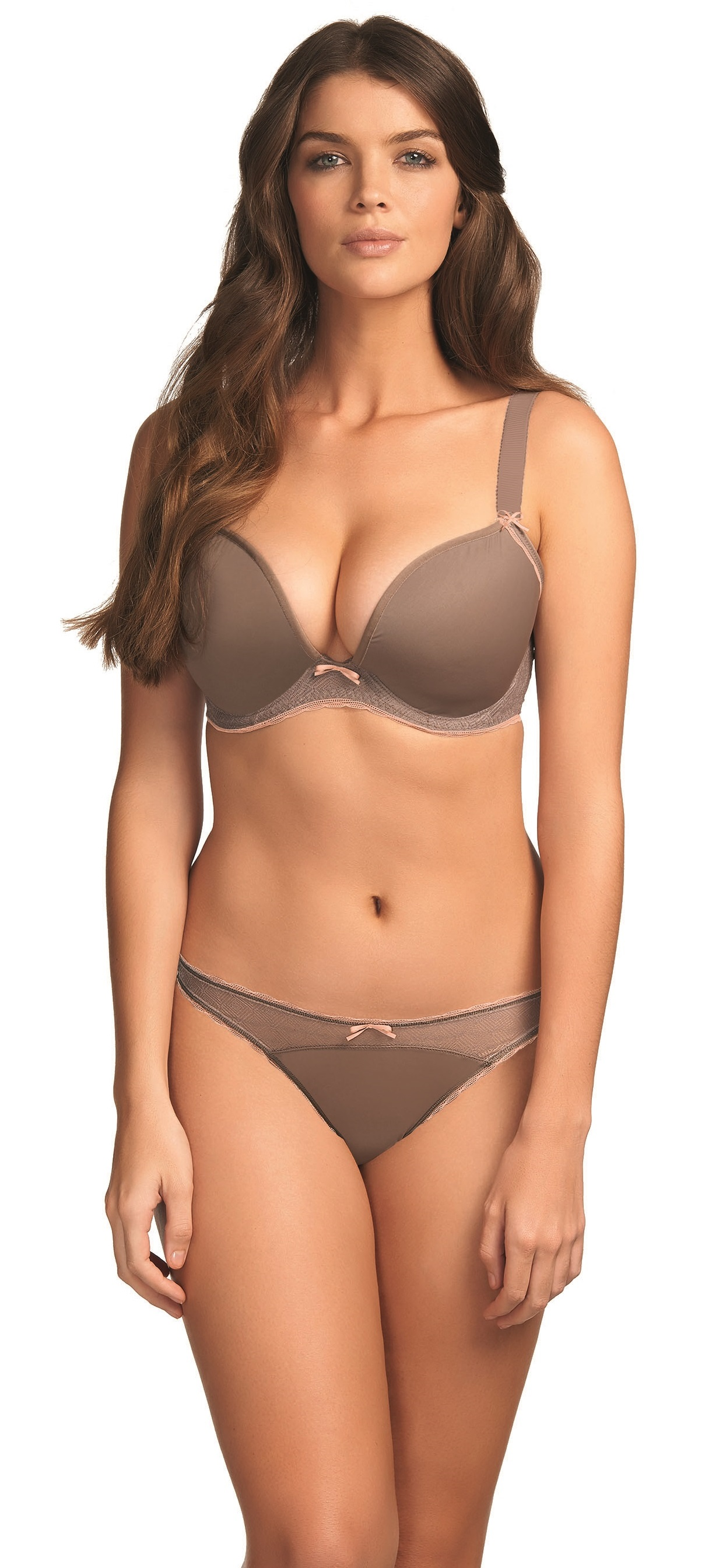 ff2e576ee53 Freya Deco Vibe AA1704 Mocha UW Molded Plunge Bra With J-HOOK NWT Large  sizes