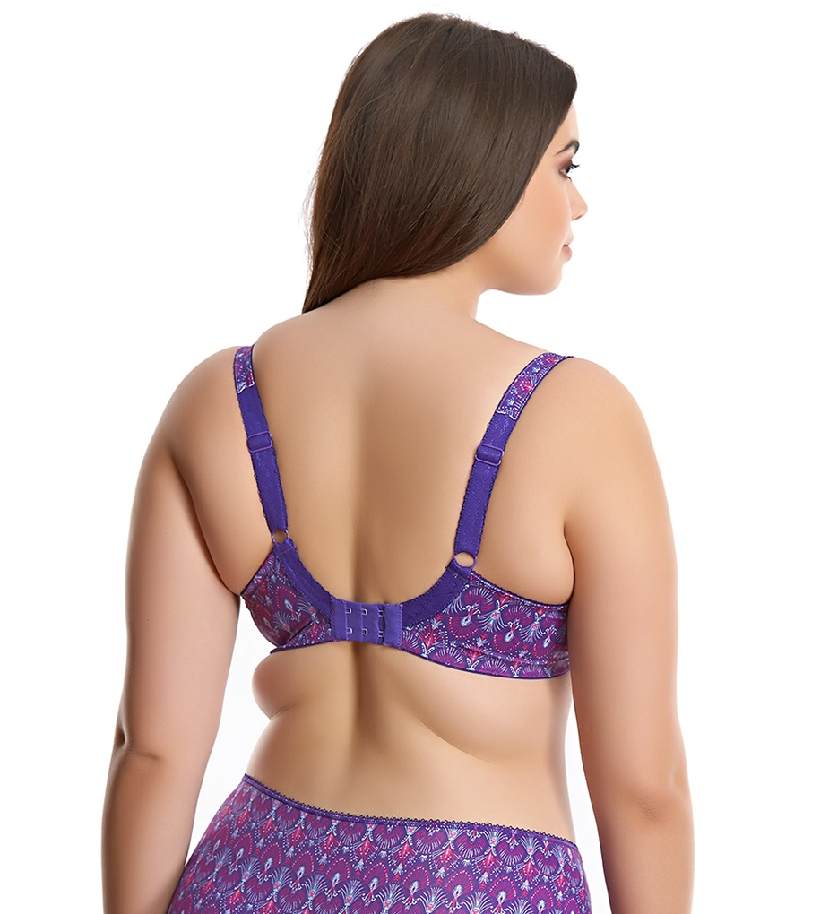 Elomi Lyndsey UW Banded Bra #4120 UK Size F GG Iris Purple Fan Print New w//tag