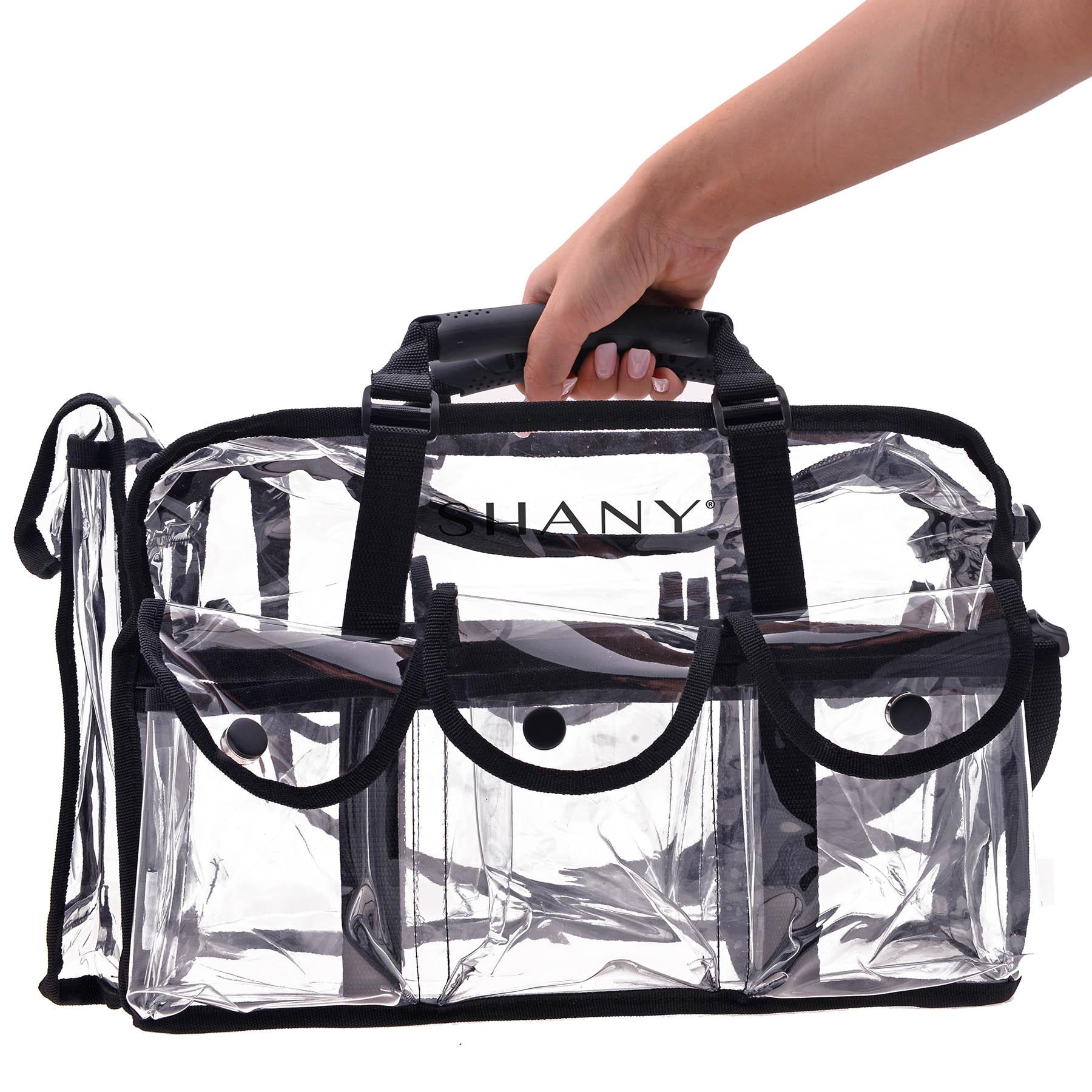 Details about Clear Makeup Bag, Pro Mua rectangular Bag with Shoulder Strap, Large