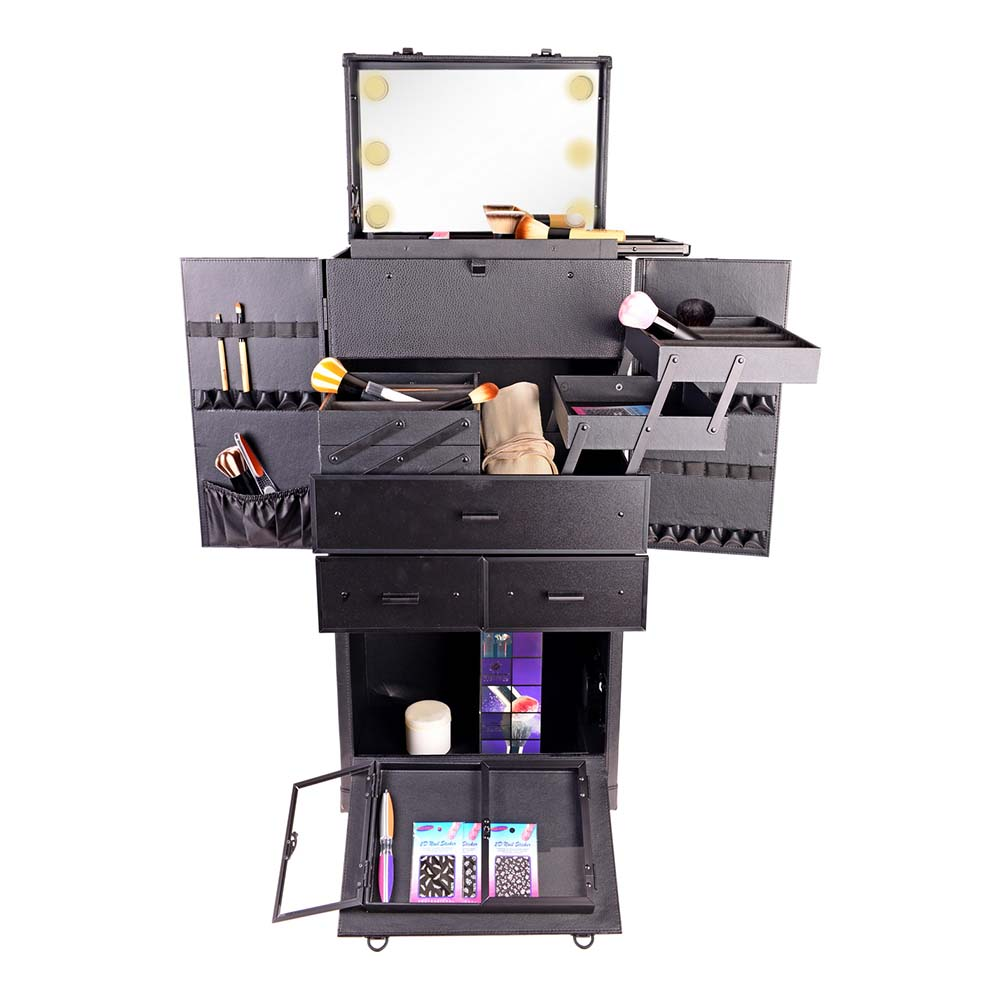 SHANY-REBEL-Pro-Makeup-Artist-Multifunction-lighted-Cosmetics-Rolling-Case miniature 6