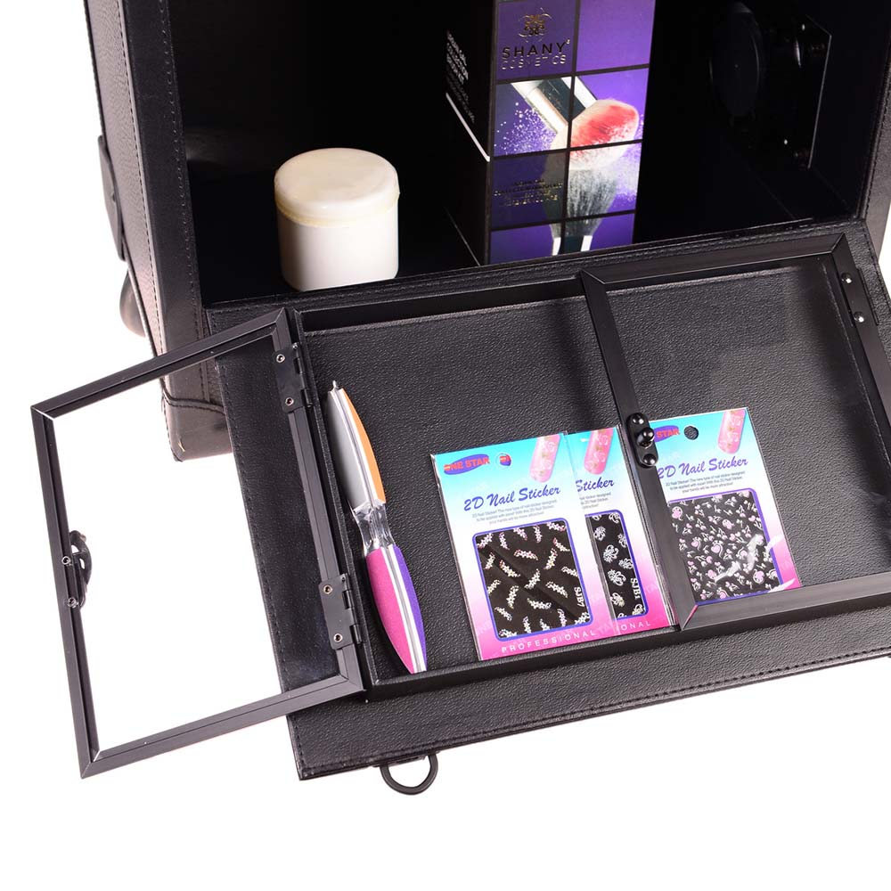 SHANY-REBEL-Pro-Makeup-Artist-Multifunction-lighted-Cosmetics-Rolling-Case miniature 10