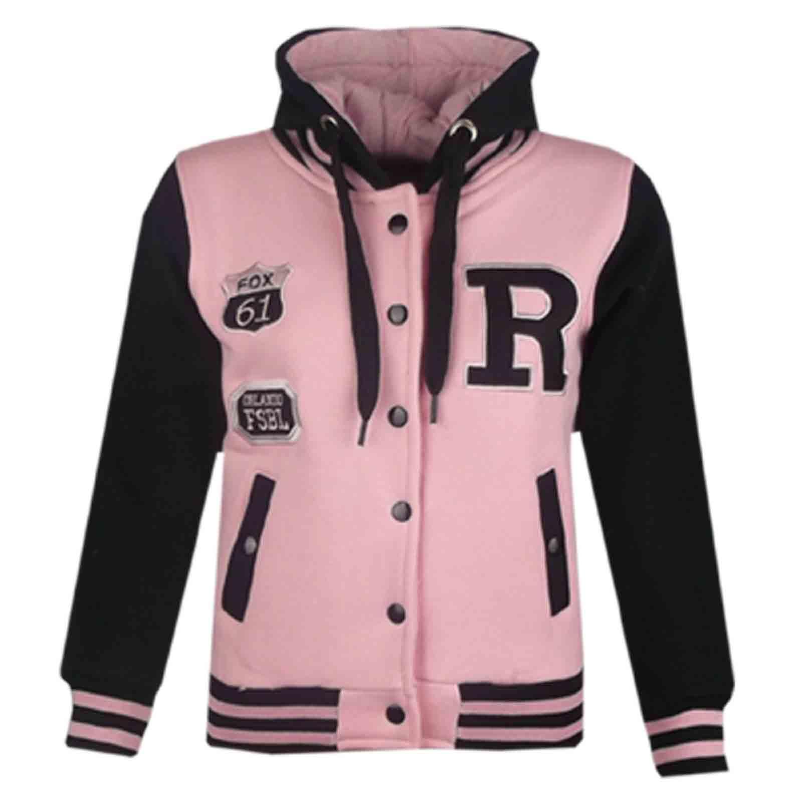 46fd5ec61b07 Kids Girls Boys Baseball R Fashion Hooded Jacket Varsity Hoodie Age ...