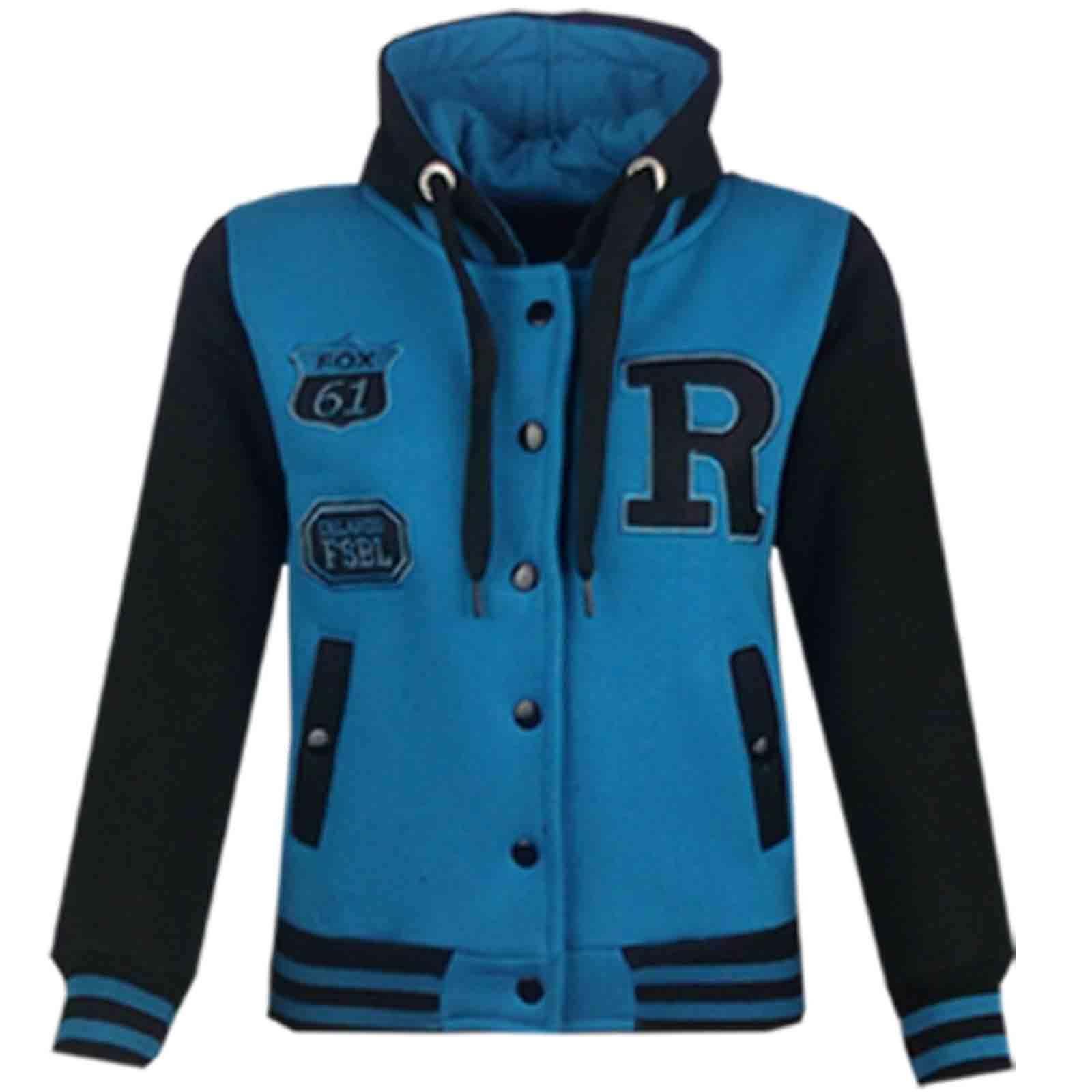 Kids Girls Boys Baseball R Fashion Hooded Jacket Varsity Hoodie Age
