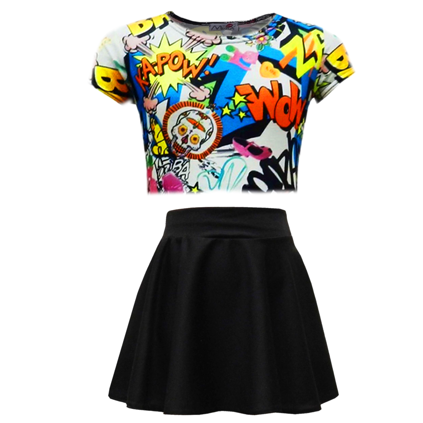 Kids Girls Comic Graffiti Leopard #SELFIE Crop Top ...