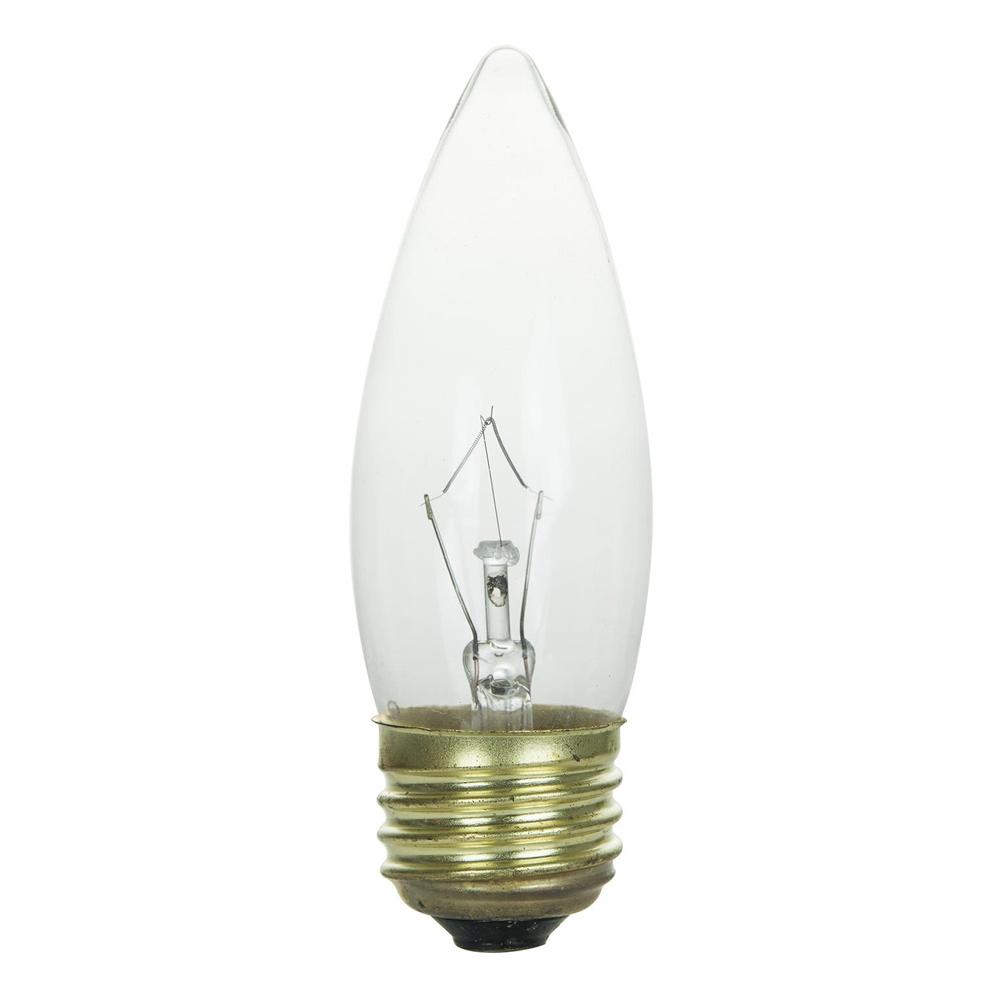 60w 120v candelabra e26 medium base torpedo clear bulbs ebay. Black Bedroom Furniture Sets. Home Design Ideas