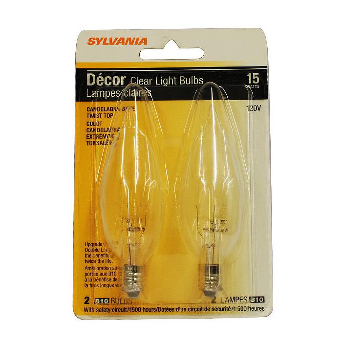 2 Bulbs Sylvania 15w 120v B10 E12 Incandescent