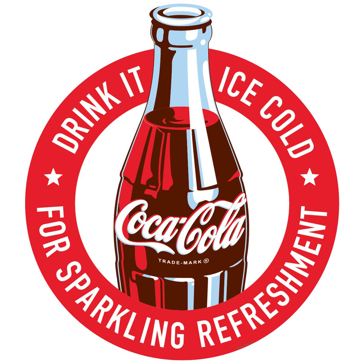 Coca-Cola Ice Cold Bottle Cap Decal 21 x 24 Coke Kitchen Graphic Decoration