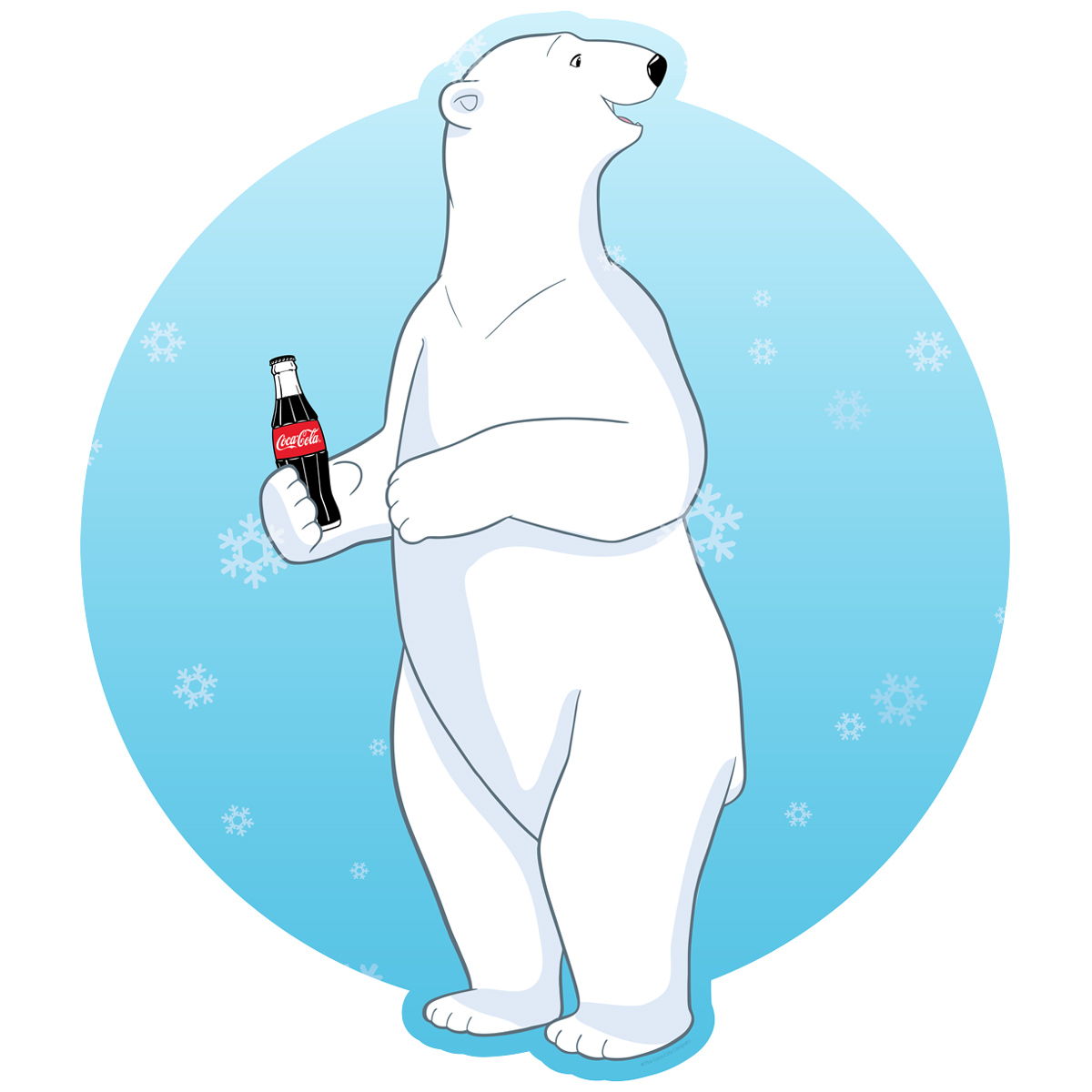 Coca-Cola Polar Bears Red Disc Decal 24 x 15 Peel and Stick