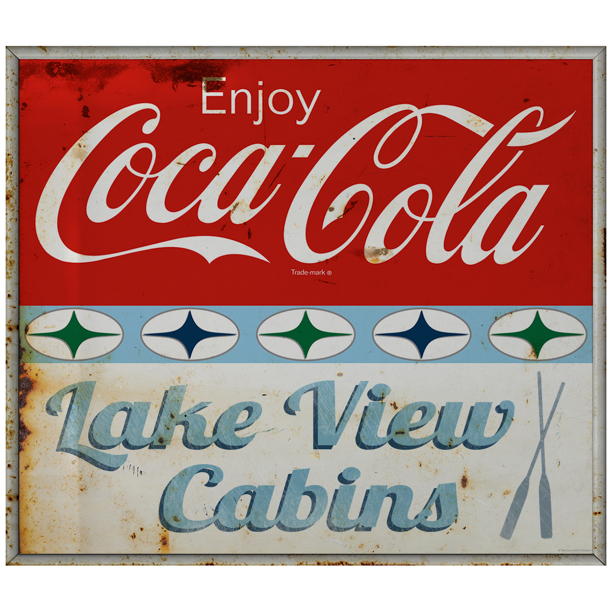 Enjoy Coca-Cola Lake View Cabins Decal 1960s Roadside