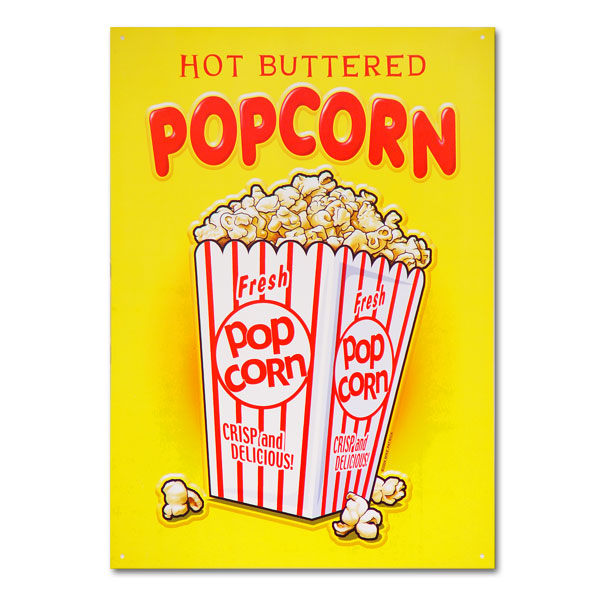 Theater Room Snack Bar: Hot Buttered Popcorn Snack Bar Metal Sign Home Theater