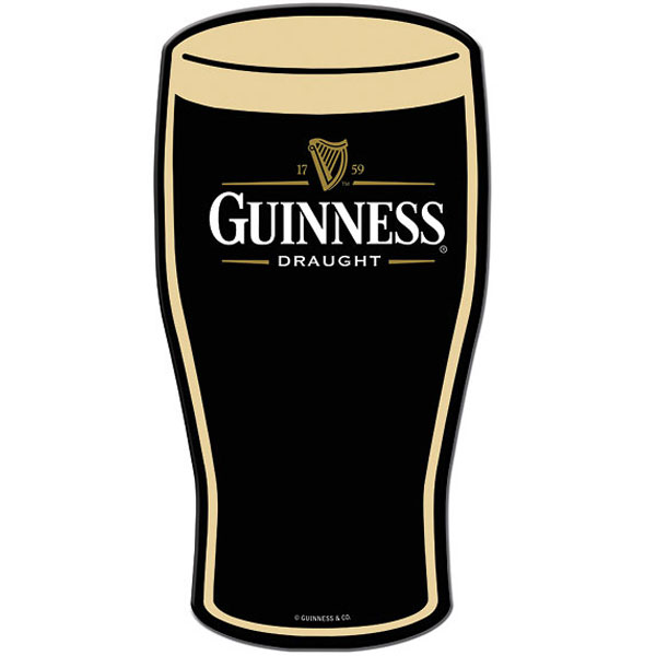 Guinness Draught Pint Glass Metal Sign Flat Color Metal
