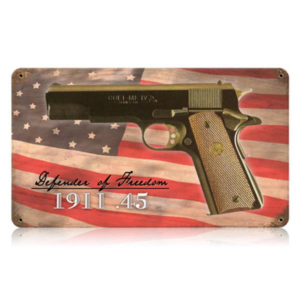 Details about Colt  45 Pistol 1911 Defender of Freedom Metal Sign Vintage  Gun Decor 14 x 8