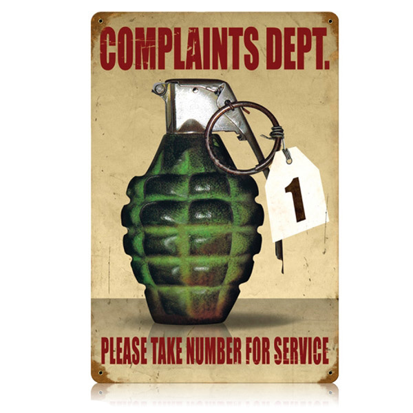 Complaints Dept Grenade Take Number Funny Vintage Office