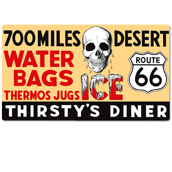 Route 66 Thirsty\'s Diner Metal Sign 700 Miles Desert Vintage Style ...
