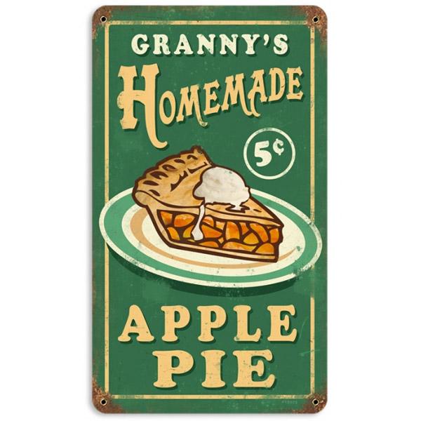 Granny's Homemade Apple Pie Metal Sign Green Vintage
