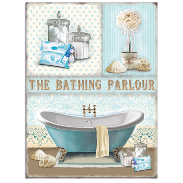 Bathing Parlour Metal Sign Vintage Style Bathroom Spa Wall