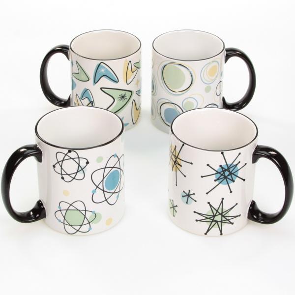 Atomic Age 50s Style Ceramic Coffee Mug Set Vintage Style