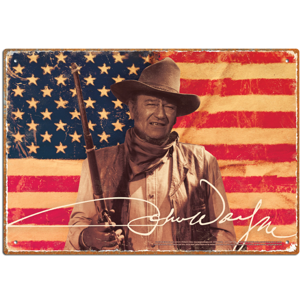 John Wayne American Flag Metal Sign Western Cowboy Movie Star Decor ...