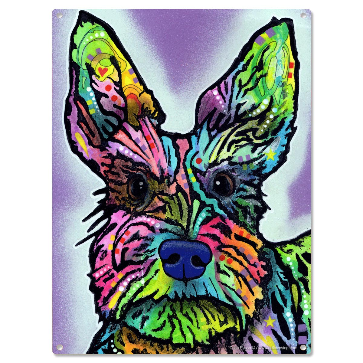 schnauzer dog dean russo metal sign stella pop art pet decor 12 x 16 - Dean Russo