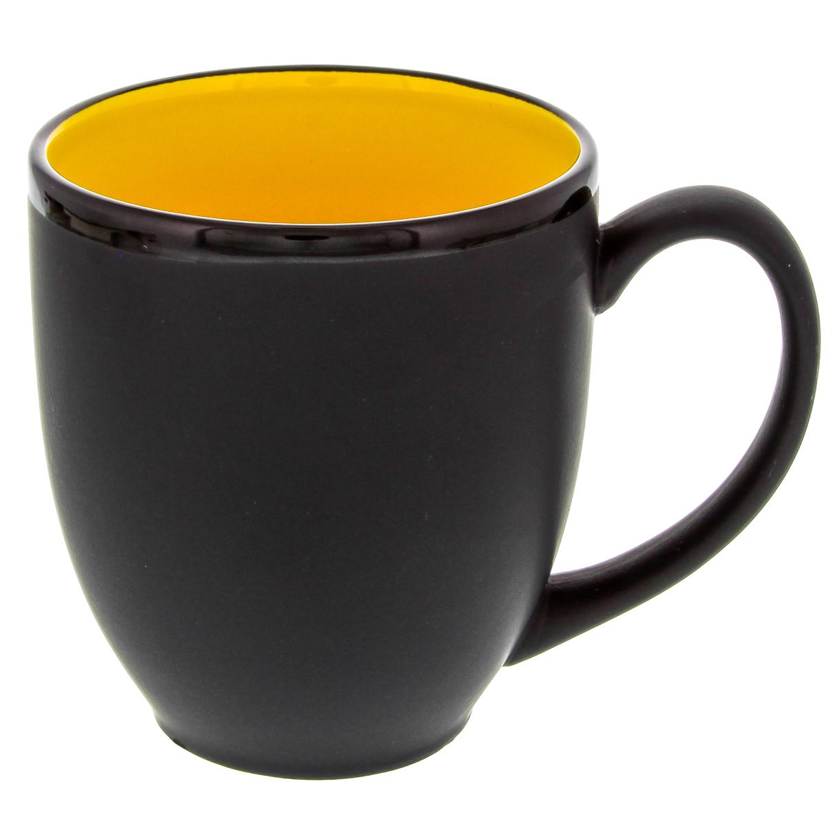 Hilo Bistro Coffee Mug Ceramic Yellow Matte Black Cafe ...